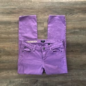 J. Crew Matchstick Purple Cropped Jeans